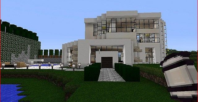 Modern little mansion house minecraft house design for Modern house xbox minecraft