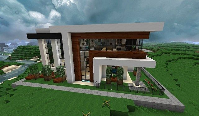 Modern house with style minecraft build 3 minecraft for How to build a modern house