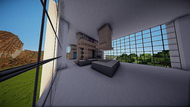 Minecraft Farnsworth House house design build 6