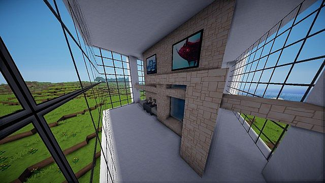 Minecraft Farnsworth House house design build 8