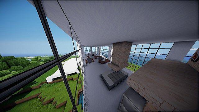 Minecraft Farnsworth House house design build 9