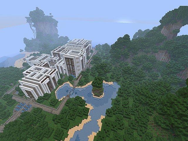 Pevilon Manor Modern Mansion Custom Terrain minecraft house 3