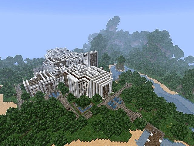 Pevilon Manor Modern Mansion Custom Terrain minecraft house