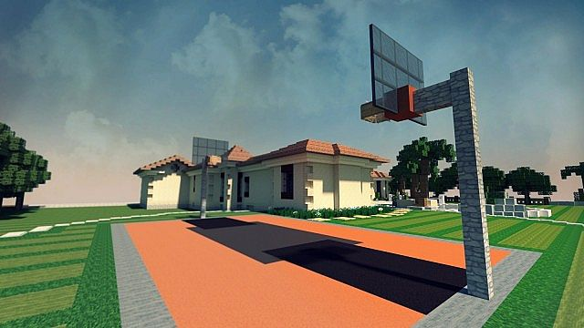 Mediterranean estate minecraft house design for How to build basketball court