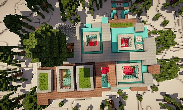 Cascade modern mansion minecraft building ideas 4