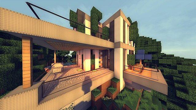 modern cliffside house � minecraft house design