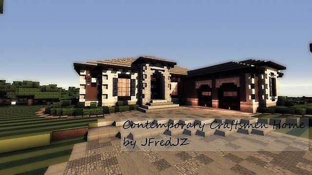 Contemporary Craftsman Home minecraft house ideas