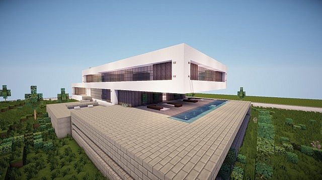 Fusion modern concept mansion minecaft house design 3