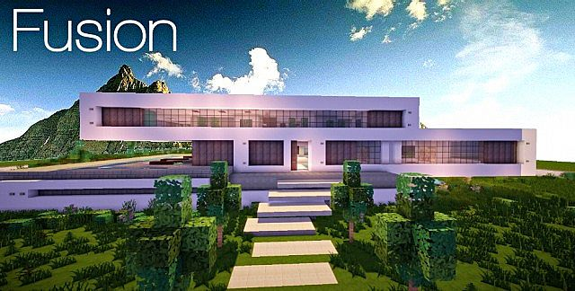 Fusion modern concept mansion minecaft house design