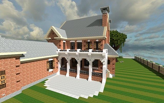 Plantation Home - Country Old Brick minecraft house ideas 2