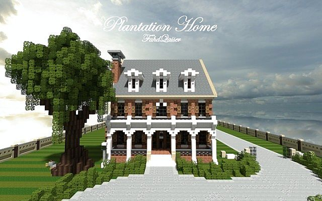 Plantation Home - Country Old Brick minecraft house ideas