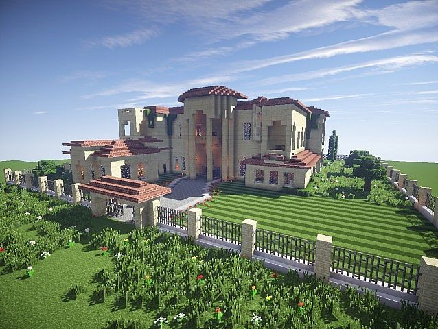 California Mansion minecraft house modern building ideas