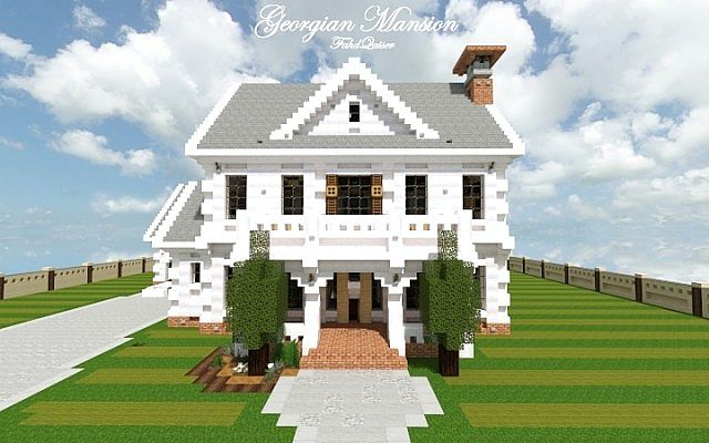 Georgian Home minecraft house design build ideas