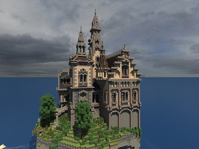 Hustin Manor minecraft house floating 3