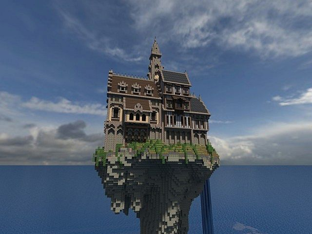 Hustin Manor minecraft house floating 4