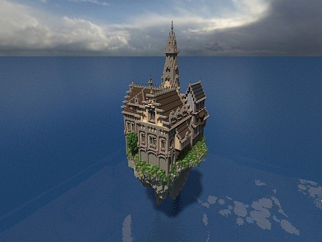 Hustin Manor minecraft house floating 5