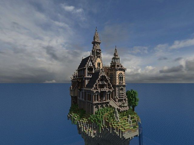 Hustin Manor minecraft house floating 6