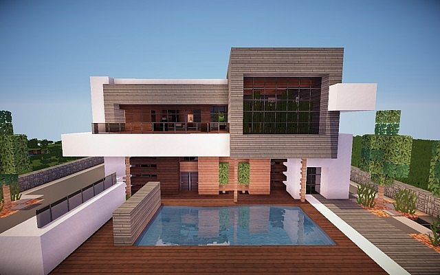 Squared modern home minecraft house design for Modern house building