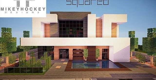 squared modern home minecraft house design - Modern Home Building