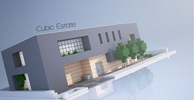 Cubic estate minecraft house design for Modern building design minecraft