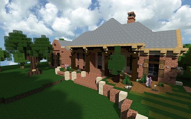 French Acadian Bungalow Minecraft building house ideas brick country 2