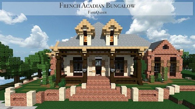 French Acadian Bungalow Minecraft building house ideas brick country