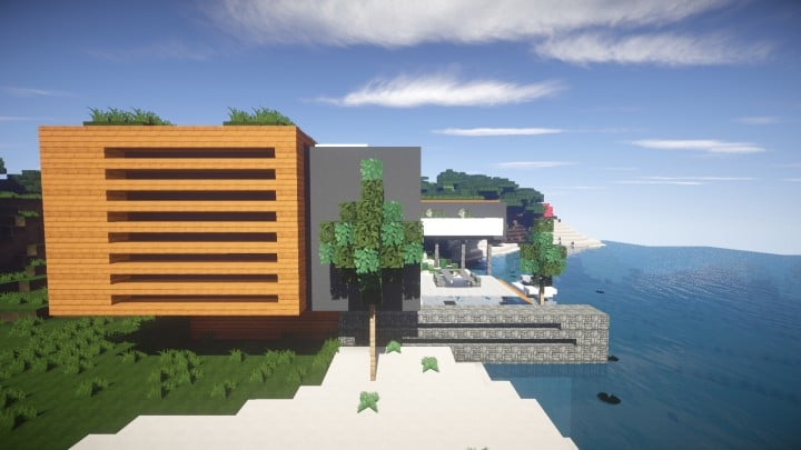 Allure contemporary home minecrft house building pool beautiful side
