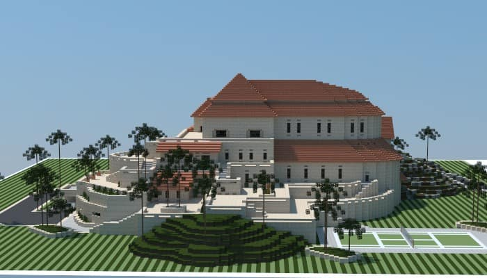 Sandstone mansion minecraft house design for Amazing building designs