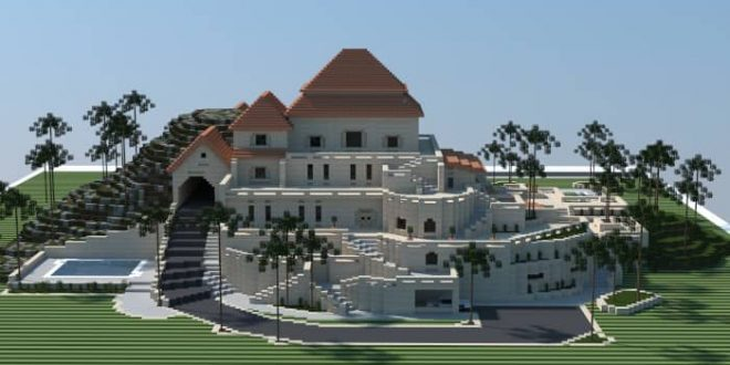Sandstone mansion minecraft house design for Big amazing houses