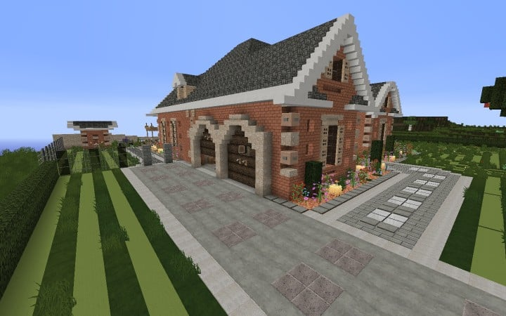 Large Suburban House minecraft building amazing idea download 2