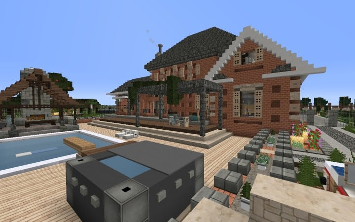 Large Suburban House minecraft building amazing idea download 3