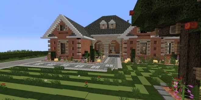 Large suburban house minecraft house design for Big modern house tutorial
