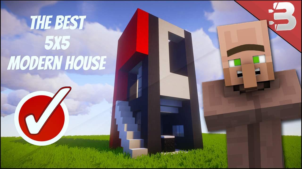Minecraft 5x5 Modern House Tutorial Plot House Best Minecraft House Design