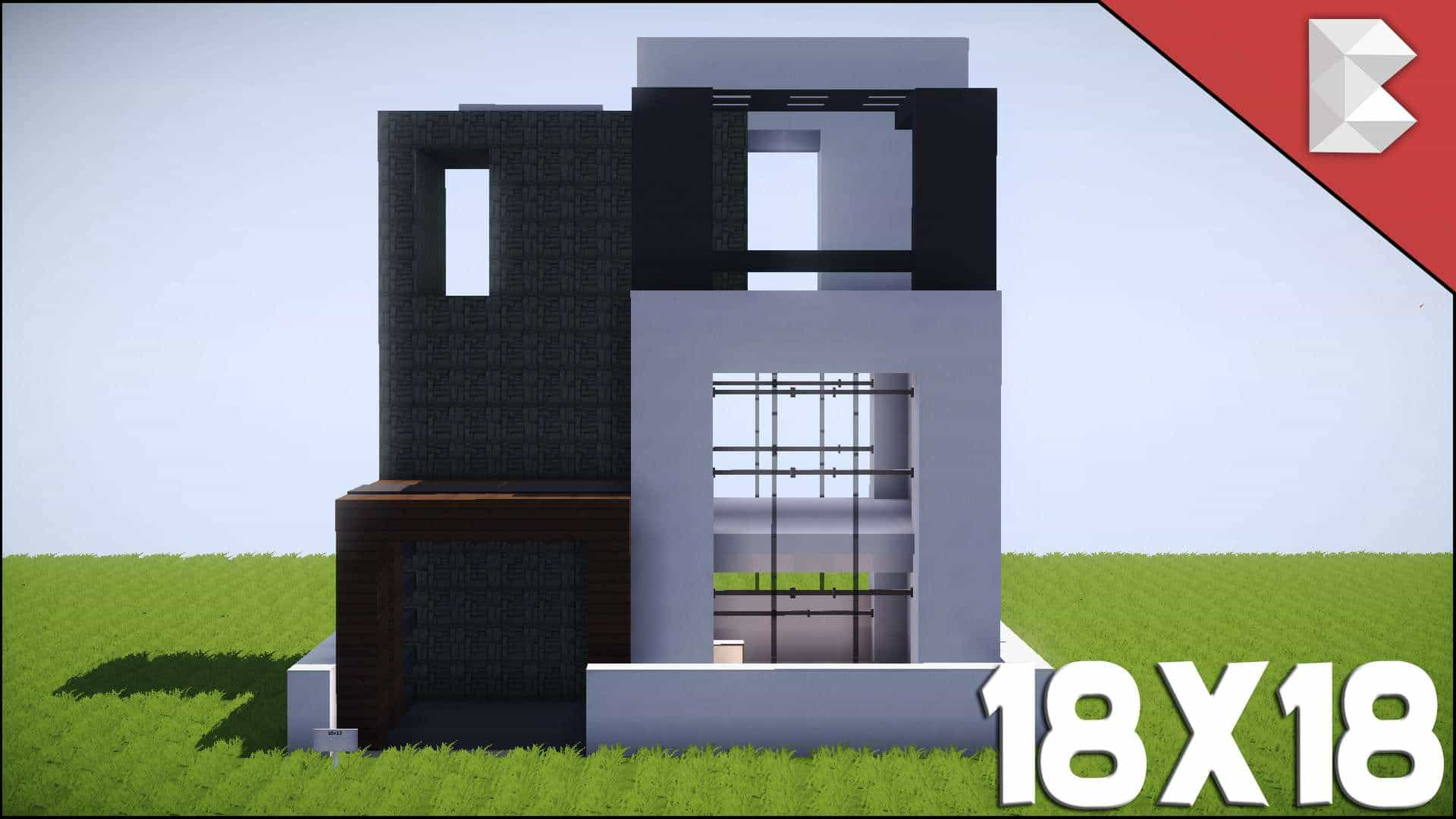 Minecraft 18x18 modern house tutorial best small modern for Modern house in minecraft