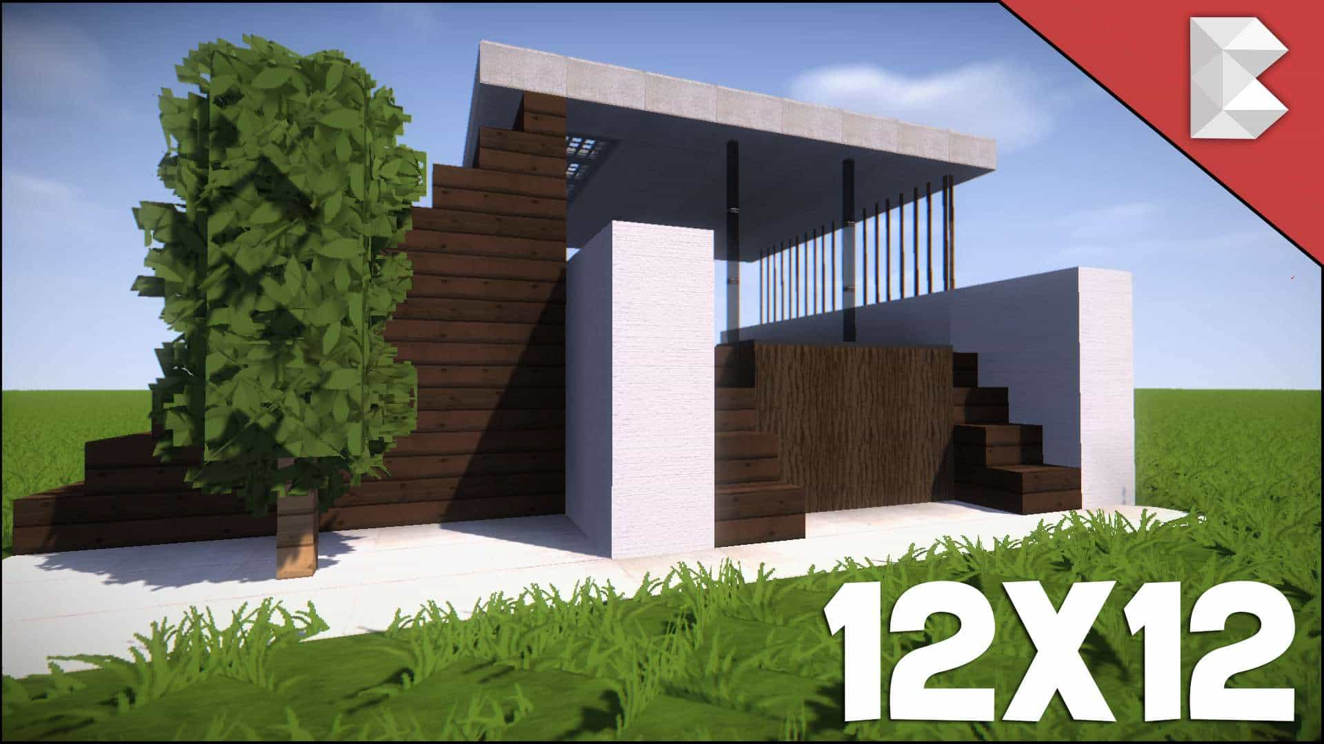 Minecraft: 12X12 Modern House Tutorial | How to Build Best Small Modern  House  Minecraft House Design